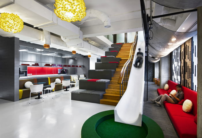 Awesome indoor slide:modern office space