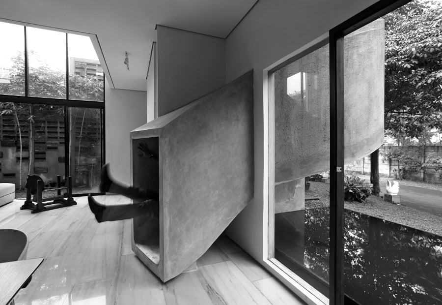 Modern concrete indoor slide