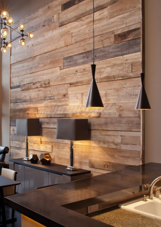 Wood paneled wall