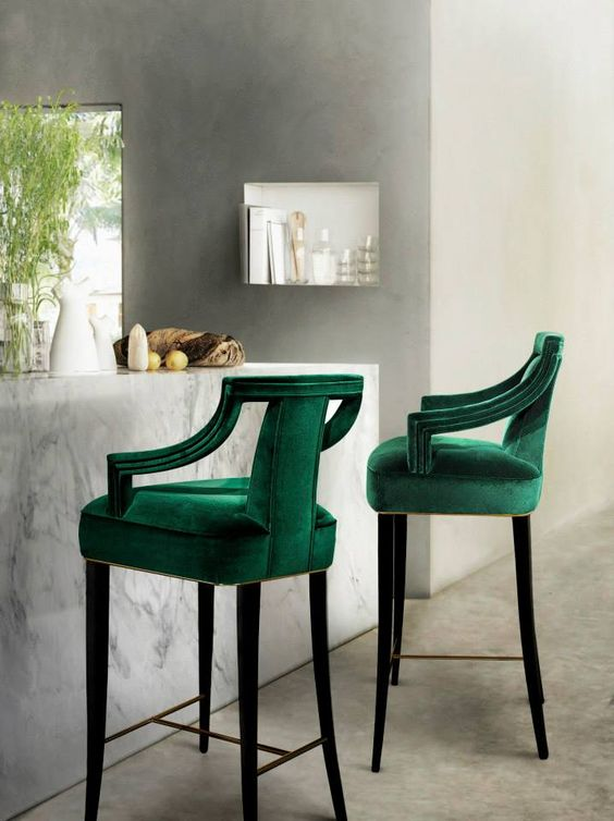 Deep Green Bar Chairs