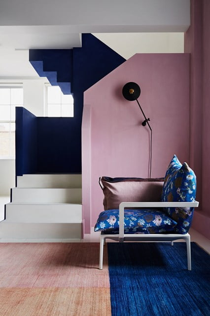 Purple room with navy blue accsents