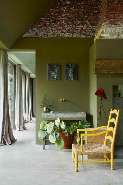 Green-colored walls interior