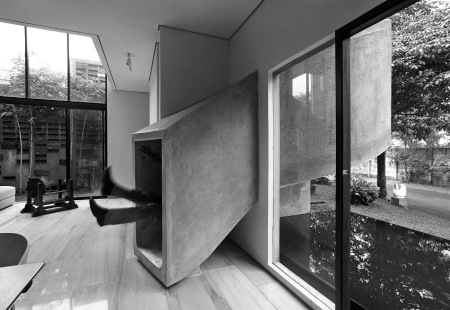 Modern concrete indoor slide