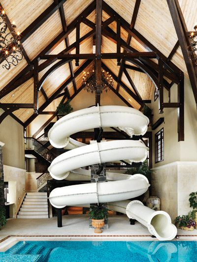 Awesome indoor slide for pool