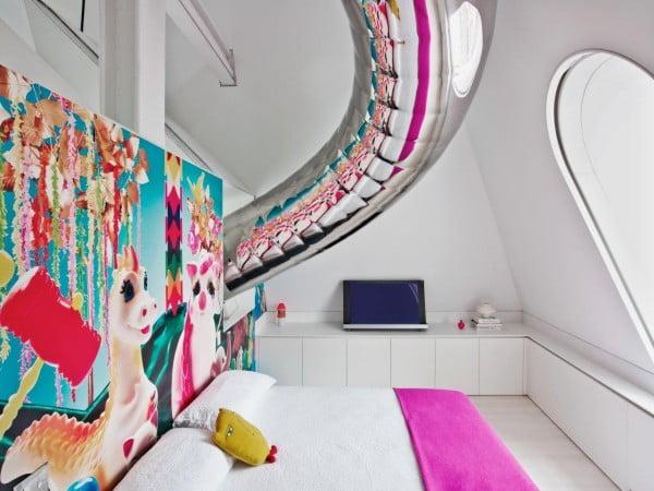 Awesome indoor slide:modern apartment bedroom for kid